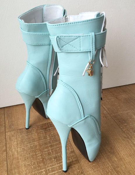 18cm Fetish Ballet BDSM Calf Pointe Boot Charm Burlesque Tiffany Blue Mint