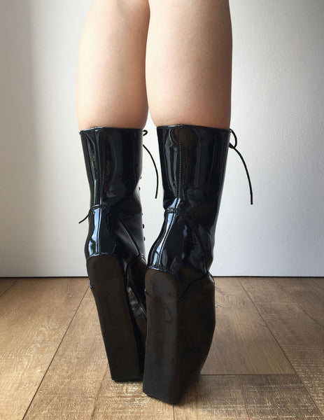 18cm BEGINNER Hoof Sole Heelless Fetish Punk Goth Pinup Ballet Pointe Boots