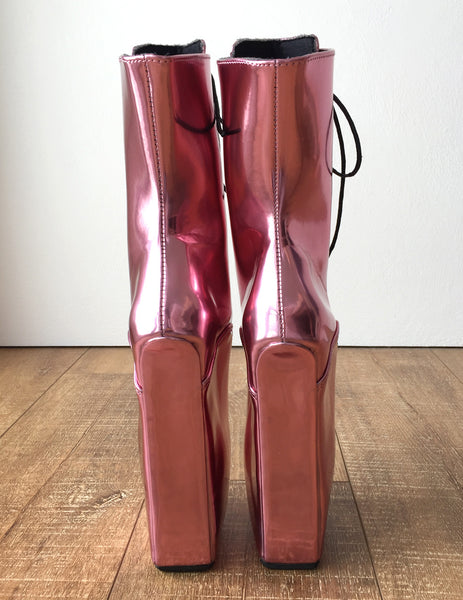 18cm Beginner PINKY Hoof Sole Heelless Fetish Ballet Metallic Wedge Pointe Boots