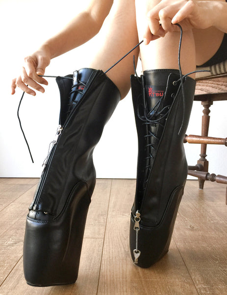 "18cm ""LOCKY"" Beginner Lockable Ballet Wedge Boots Hoof Sole Heelless Fetish Goth Pinup"