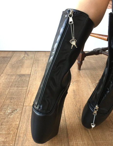 KEEP Calf-hi Ballet Wedge Boots with YKK Zip Lockable Hoof Heelless Fetish Pinup