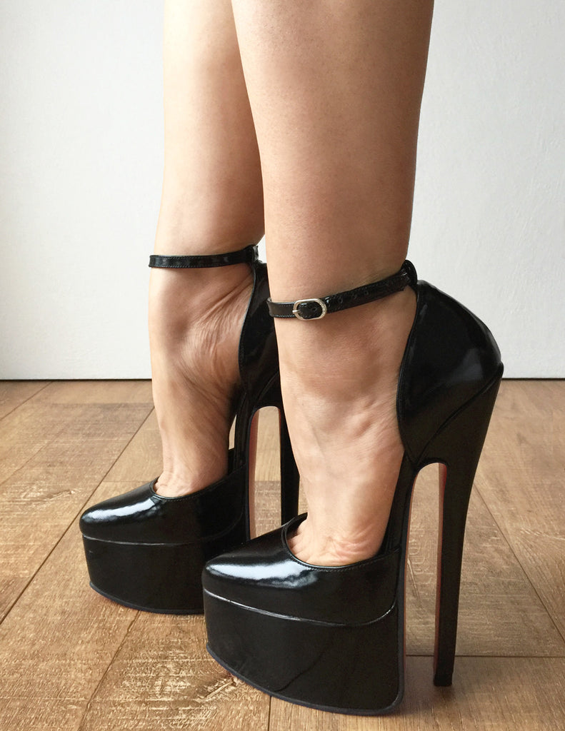 20cm Genuine Patent Leather Stiletto Platform Fetish Ankle Strap Heel Medium Round Toe