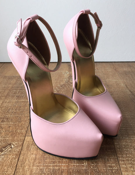 HAASINK 20cm Genuine Leather Sharp Toe Discreet Platform D'Orsay Heels Soft Pink
