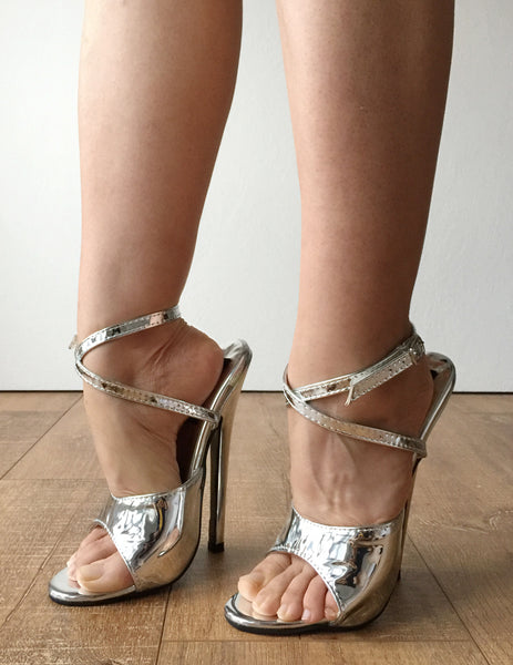 RTBU SALMA 12cm Stiletto Heel Wrap Strap Sandals Slipper Silver Metallic