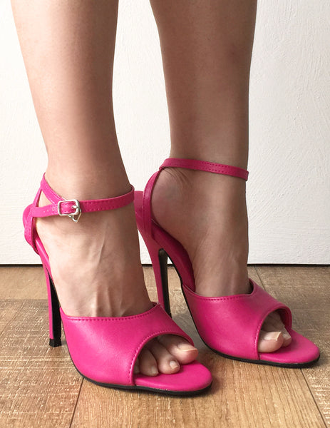 RTBU SALMA 12cm Stiletto Heel Wrap Strap Sandals Slipper Hot Pink Matte