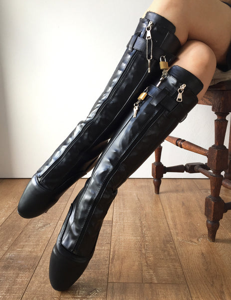 RTBU SECRET III Fetish Ballet Pointe Knee Boot Lockable Zip Padlock Black Matte