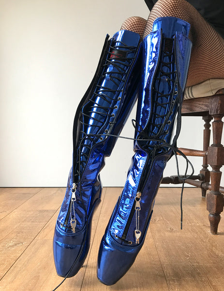Secret II Ballet Pointe Boots Fetish Pinup Ballet Lockable Zipper Blue Metallic