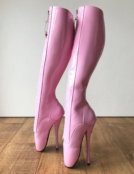 Secret II Ballet Pointe Boots Fetish Pinup Ballet Lockable Zipper Light Pink