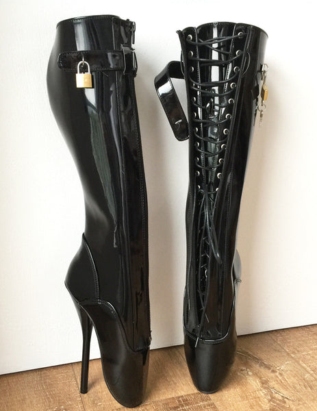 RTBU SECRET Fetish Ballet Pointe Pain Knee Boots Concealed Lace Lockable Strap