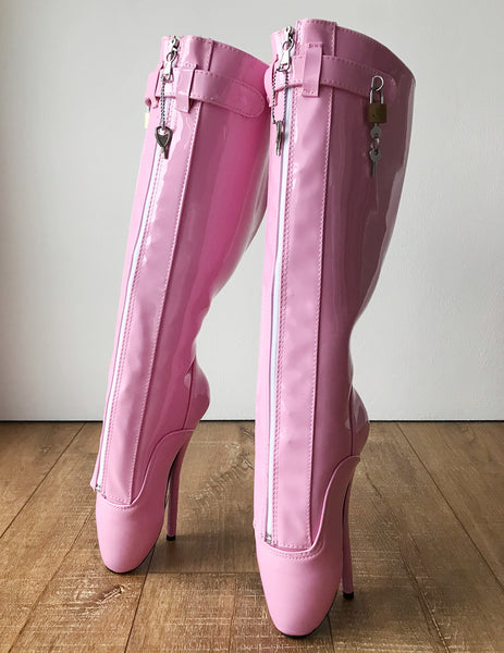 RTBU SECRET Fetish Ballet Pointe Knee Boot Concealed Lace Lockable Strap Baby Pink Patent