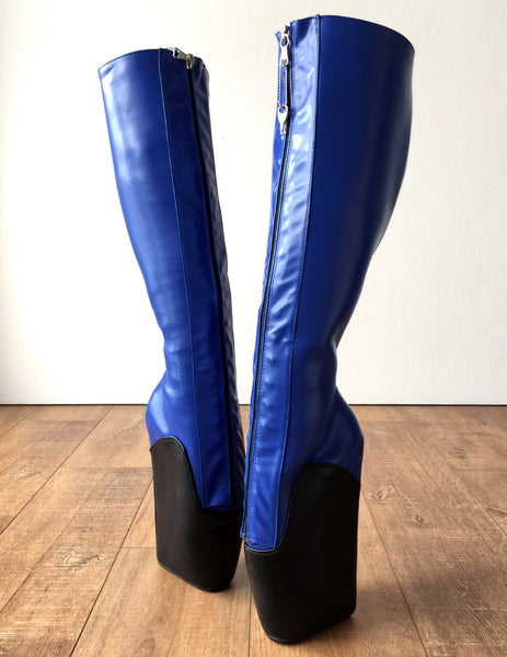 18cm SECRET W Ballet Wedge Boot Hoof Heelless Zip Fetish Blue Black Matte