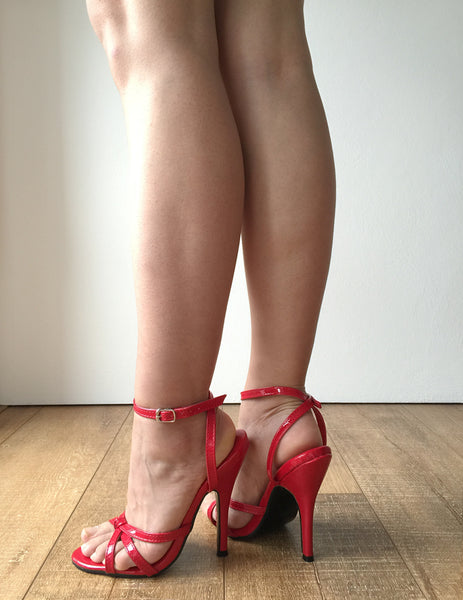 SERINA 12cm Stiletto Fetish Sandal Sexy Mistress Tie Strap Red Patent