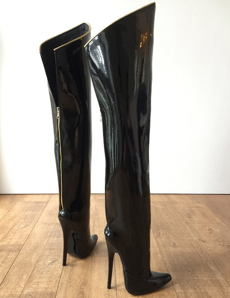 RTBU SLICK 18cm Stiletto Hard Shaft Rear Zip Gold Piping Thigh Boot Patent Black