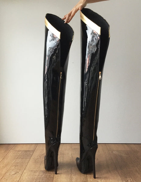 RTBU SLICK 18cm Stiletto Hard Shaft Gold Ribbon Trim Mid-Thigh Boot Patent Black