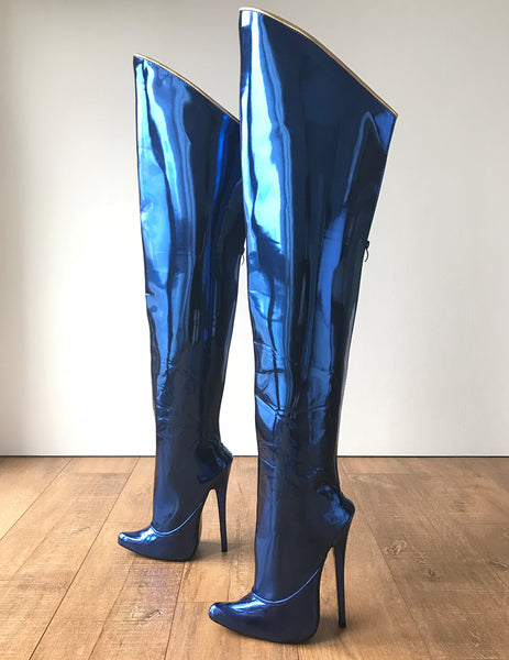 RTBU SLICK 18cm Stiletto Hard Shaft Rear Zip Gold Piping Thigh Boot Blue Metallic