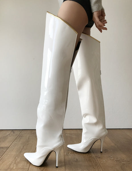 RTBU SLICK 12cm Stiletto Hard Shaft Gold Piping Mid-Thigh Boot Patent White