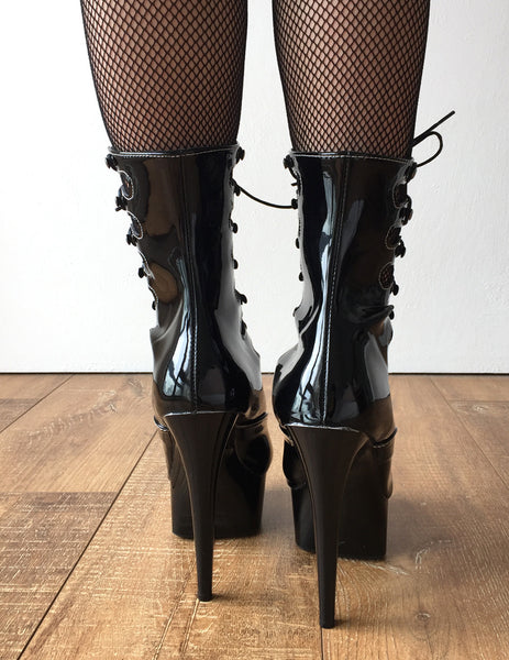 SPIDER 15cm Platform Hi Heel Fetish Goth Corset Lace Up Calf Boots Black Patent