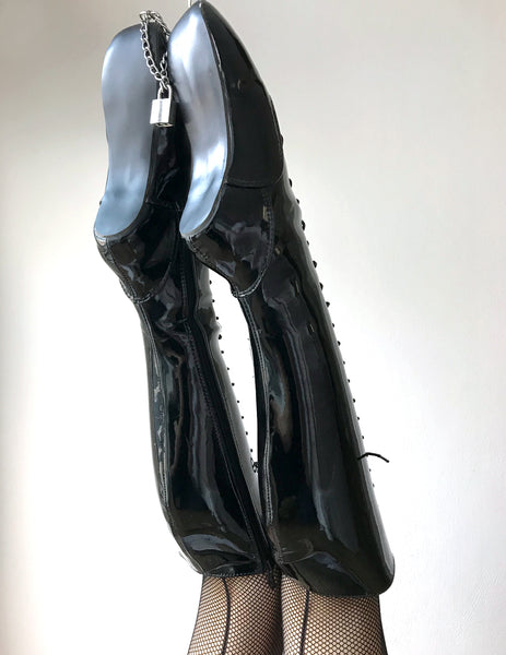 RTBU TEARDROP Heelless Lace Up Knee High Ballet Fetish Pain Boots Black Patent
