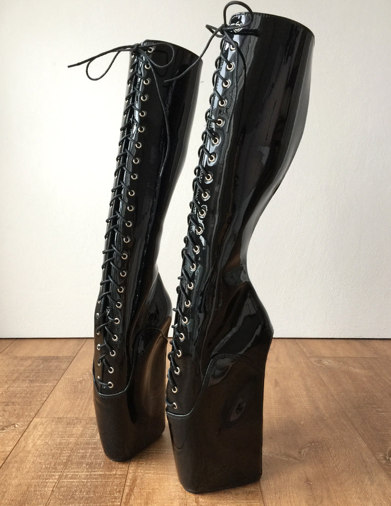 RTBU TROY Ballet Wedge Lace p Knee Hi Boots Hoof Fetish Dominatrix Black Patent