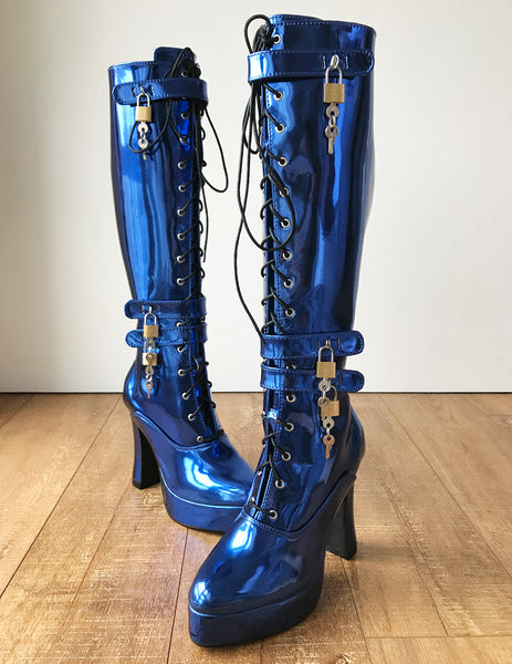 RTBU WARRIOR Locking Zip Strap Lace 12cm Spool Knee Hi Fetish Boot Blue Metallic