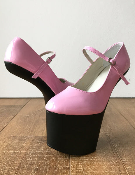 ZARMINA Light Weight Hoof Sole Heelless Ankle Strap Mary Janes 2 Tone Pink Black