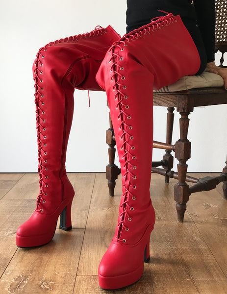 ZETH 12cm Spool Heel Platform Lace up Crotch Goth Cosplay Fetish boot Red Matte