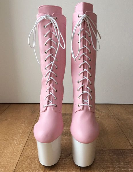 RTBU ZOE 20cm Platform Calf Lace Up Boot Cosplay Kawaii Decora Pastel Baby Pink