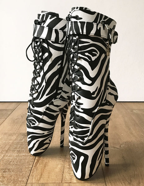 18cm BALLET Zebra Print Textured Calf Hi Fetish Boot Charm Burlesque Dominatrix
