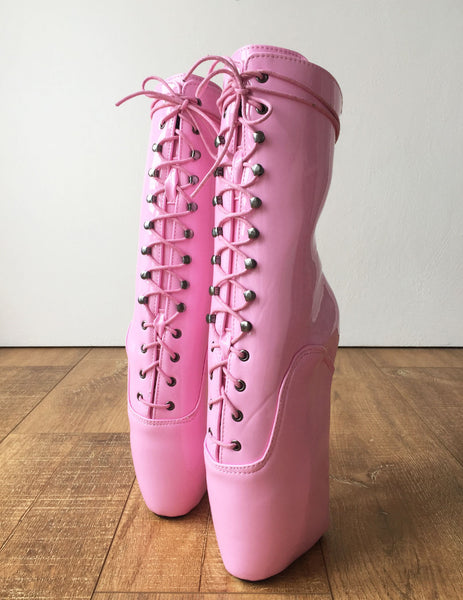 18cm BEGINNER Ballet Wedge Hoof Sole Heelless Fetish BDSM Pointe Baby Pink Boots