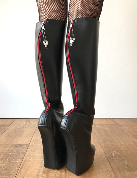 ALPHA Lockable Red Back Open Zip Heavy Hoof Sole Heelless Locking Knee Hi Fetish