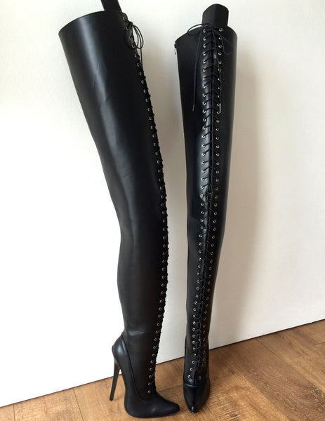 RTBU 95CM Hard Shaft Crotch Hi Laceup 18cm Stiletto Boots Personalized Shaft