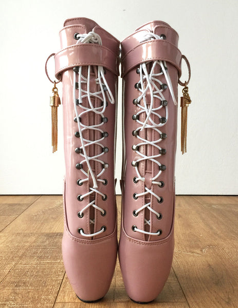 RTBU Metallic TASSEL Fetish Ballet Burlesque Pointe Boot Pearlescent Gold Pink