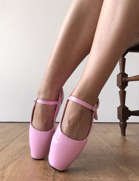 RTBU BALLET I Baby Pink Patent Strap Buckle Burlesque Mary Janes Fetish Pump