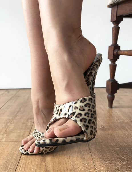 18MULE Leopard Patent Sexy Mistress Hi Heel Stiletto Fetish Slipper Slides Mule