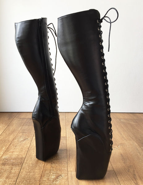 RTBU TROY (Zip) Ballet Wedge Laceup Knee Hi Boots Hoof Shoe Fetish Dominatrix
