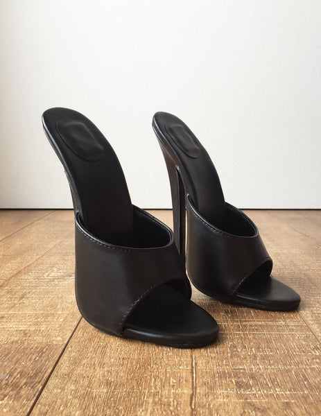 18MULE Sexy Mistress Hi Heel Stiletto Fetish Slipper Slides Mule Black Matte
