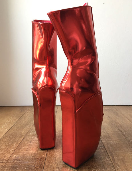RTBU KEEP Lockable Zip Ballet Wedge Fetish Hoof Boots Heelless Metallic Red