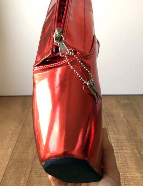 RTBU KEEPLOCK Chained Fetters Lockable Zip Ballet Wedge Fetish Hoof Metallic Red