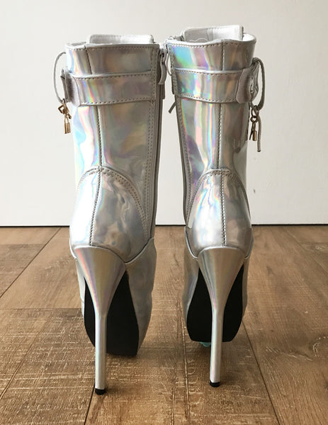 RTBU BALLET Silver Holographic Rainbow Calf Hi Fetish Boot Burlesque Dominatrix