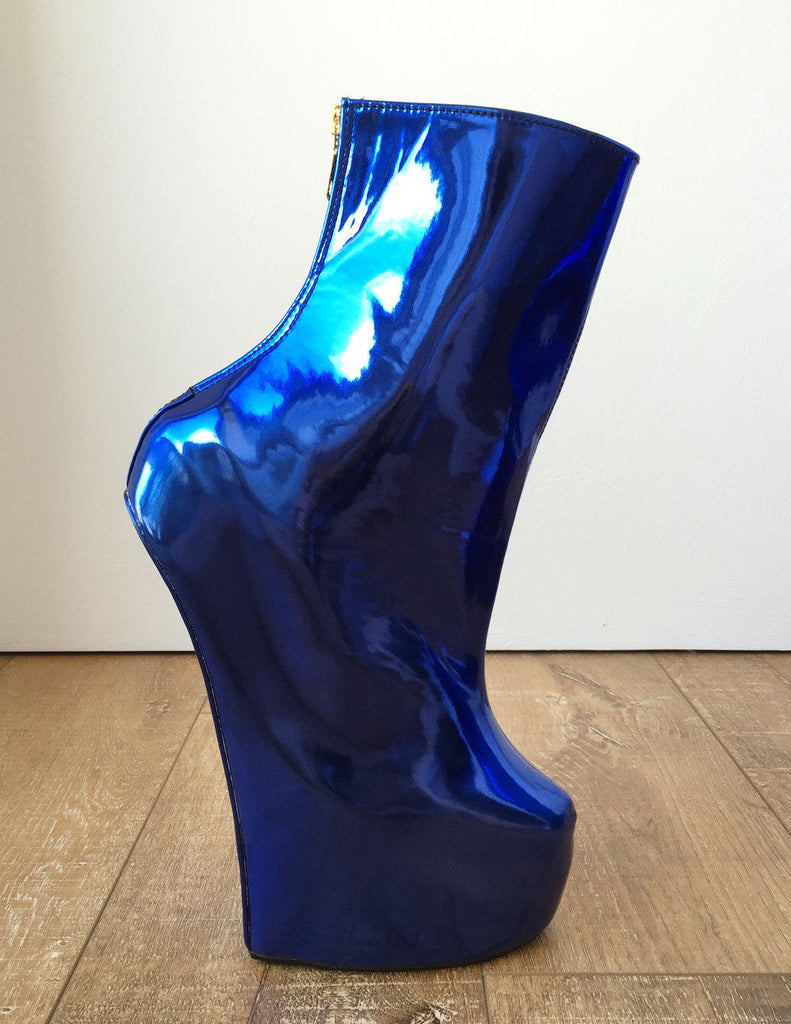 Fetish Stallion Horse Pony Hoof Sole Metallic Cobalt Blue Ankle Boots Golden Zip