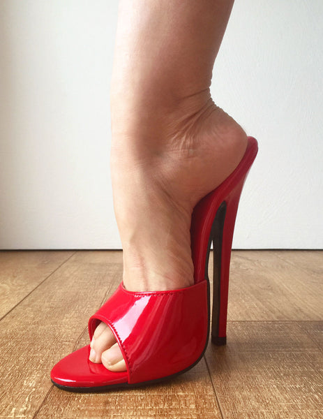 18MULE Sexy Mistress Hi Heel Stiletto Fetish Slipper Slides Mule Red Patent PU
