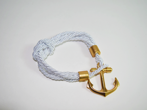Rope Bracelet with Gold Anchor