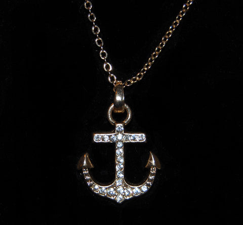 Gold Diamond Anchor Necklace
