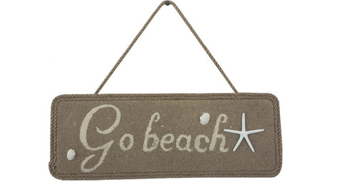 Go Beach Wooden Starfish Hanging Sign - 16""