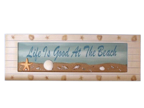 Life is Good at the Beach Wooden Sign - 21""