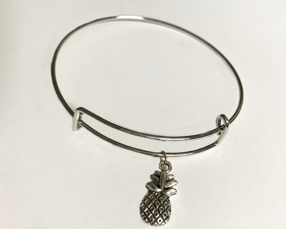 Pineapple Charm Bangle Bracelet