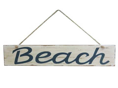 Rustic Wooden Hanging Beach Sign - 14""