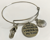 3 Charm (sandal, shell and quote) Bangle Bracelet
