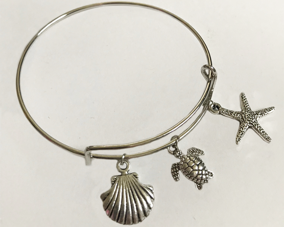 Charm Bangle Bracelet: shell, turtle and starfish charms