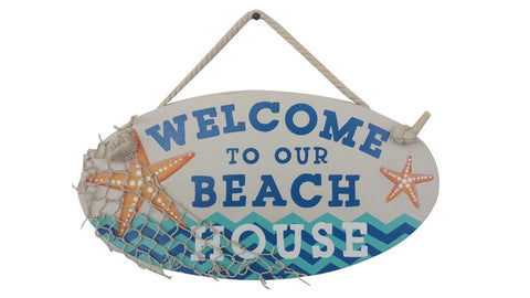 Welcome to Our Beach House Wooden Hanging Sign - 15""